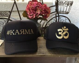 Trucker Hats- Karma, yoga, Om