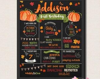 Little pumpkin First Birthday Chalkboard Sign - 1st Birthday Printable Sign - Fall pumpkin birthday party chalkboard sign