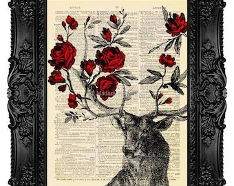 Vintage Home Decor Wall Hanging Art Print on Dictionary Paper Art Vintage Book Page Art Print on Dictionary Deer Art Print, Deer Antlers 273