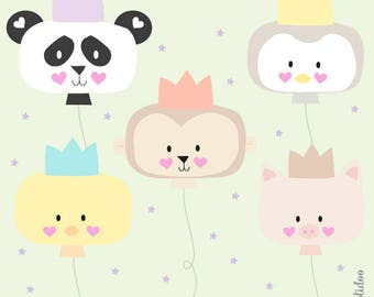 Birthday Animal Party Clipart Set - Kawaii Balloons Clipart - Party Animals Clipart - Instant Download