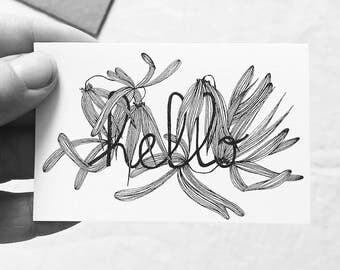 Hello - illustrated card with message - France - Orchid - hand drawing - draw limited - pseudo-petiole