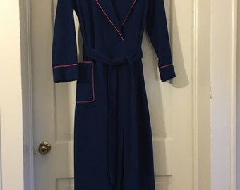 Navy Bathrobe with Red Trim