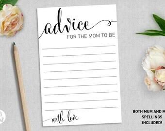 Baby Shower Advice Card | Advice for the mum to be | Advice for the mom to be | New Baby | Baby Girl | Baby Boy | Printable advice card