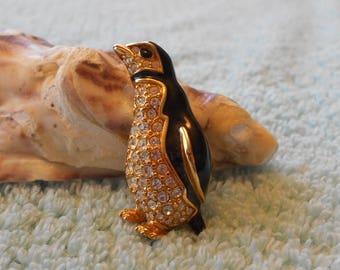 Vintage Signed Swarovski Penguin Pin, brooch