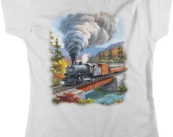 Train Crossing, Locomotive Bridge Women's T-shirt, NOFO_00412