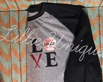 Baseball LOVE shirt with child's name