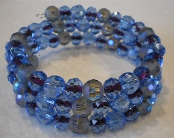 Bracelet of crystal and glass beads, 3 row on memory wire, Blue and purple