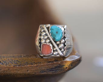 Turquoise and Coral Vintage Native American Sterling Silver Mens Ring, US Ring Size 11.0, Used Western Jewelry