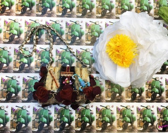 Small leather handbag,small evening bag,small handbag with flower,clutch with feather and lace,elegant clutch