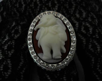 Vintage Rhinestone Cameo Statement Ring #206