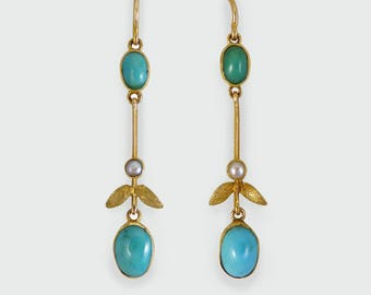 Edwardian Turquoise and Pearl Ear Pendants modeled in 15ct Gold c1910