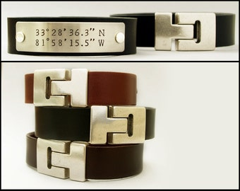 Men's Custom Coordinates Bracelet, Personalized Leather Bracelet, Gift for Husband, Custom Bracelet, Latitude Longitude Bracelet
