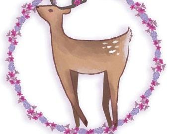 Floral Deer A5 Print