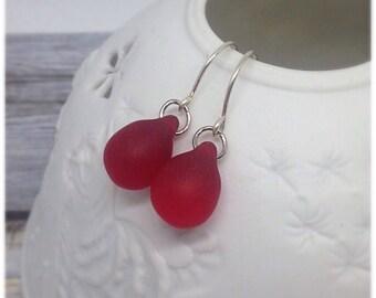 Matte Red Earrings, Red Teardrop Earrings, Teardrops, Red, Gifts for Her, Anniversary, Mothers day, Birthday, Fancy Earring, Valentines,