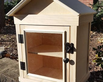 Outdoor Neighborhood Library - Single Pane Door- Unfinished - Assembled