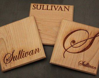 Custom Wood Coasters, Cherry Wood Coasters, Personalized Coasters, Laser engraved coasters, Personalized gift, wooden gifts, Personalized