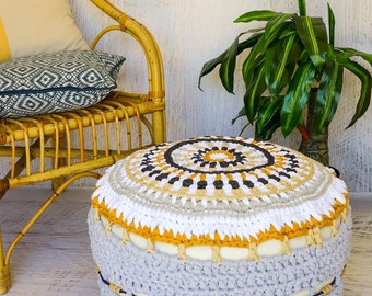 "Crochet Pouffe ""By The Beach"", Ottoman, Footstool"