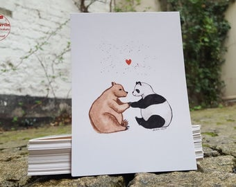 Postcard - bear love - postcard A6
