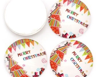 """2 glass cabochon """"MERRY CHRISTMAS"""" with Tannenbaum to the stick 20 x 5 mm"""
