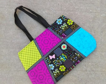 Patchwork tote bag, bright colors spingtime cloth purse, with 2 interior pockets, RTS ready to ship, fuschia turquoise lime black