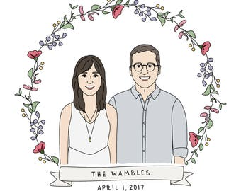 Custom Couple Floral Banner Portrait - Custom Illustration, HandDrawn Couple Illustration, Floral Save The Date, Anniversary, Wedding Shower