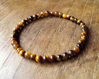Tiger eye bracelets,Stone bracelets,Real stone bracelets,Brown bracelets,4mm stone