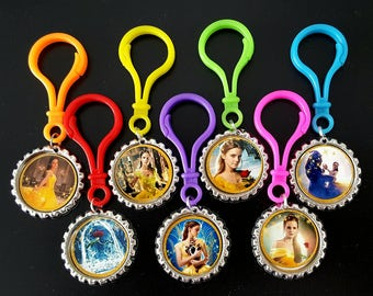 BEAUTY and the BEAST Themed Party Bottle Cap Zipper Pulls, Beauty and Beast Party Favors,  Set of 7 Bottle Cap Color Plastic Zipper Pulls .