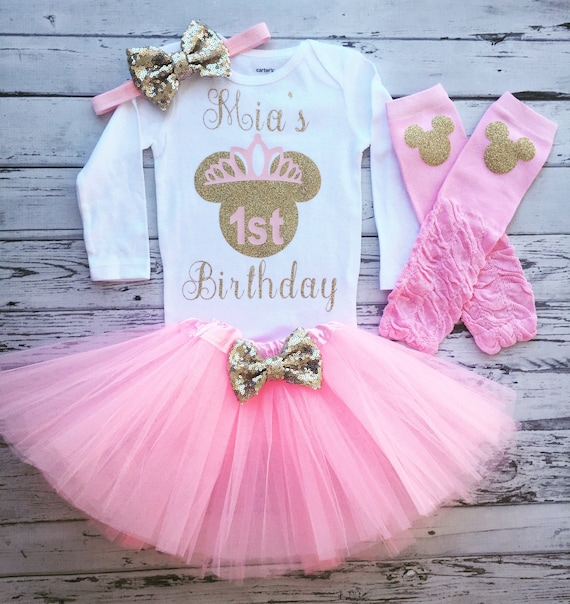 Pink And Gold 1st Birthday Outfit Minnie Mouse 1st Birthday
