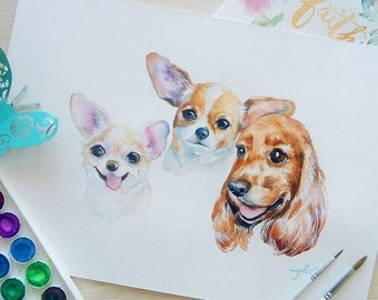 Custom made Watercolor Pet Portrait (two in one canvas for  Mina)