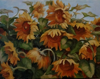 Sunflowers on a hot day