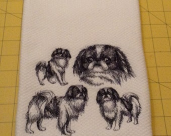 Japanese Chin Collage Sketch! Embroidered Kitchen Hand Towel, Williams Sonoma All Purpose, 100% cotton & Extra Large