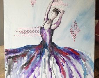 Original Ballerina Acrylic Painting dancer art, wall decor, colourful, stitching, lady, wall art, dancer, figure art, figure painting