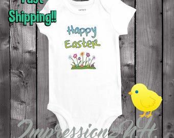 Happy Easter Flower Baby one-piece bodysuit shirt, Easter onesie, cute baby onesie