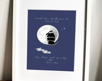 peter pan print, nursery art, children's bedroom decor, boy's art, pirates, pirate ship print