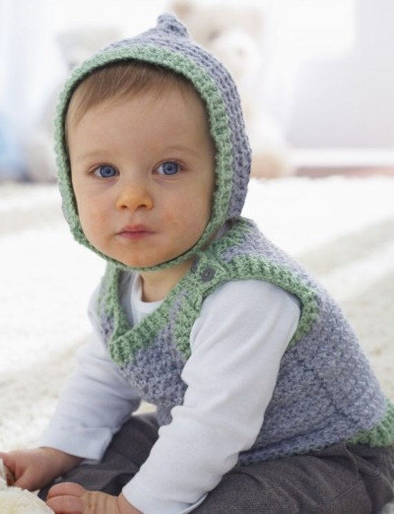 Knitting Kfbf : Crochet pattern baby vest and hat pdf vintage