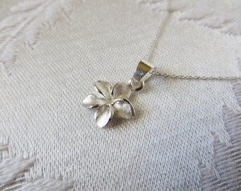 Sterling Silver Necklace with Small Silver Hawaiian Flower Charm, SN-222