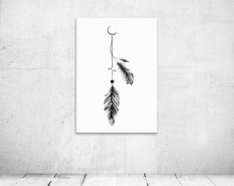 Half moon feather drawing, enso, pen and ink illustration, digital print