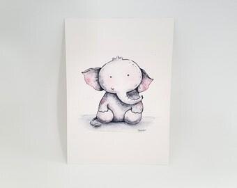 """Baby Elephant Print - A5 (5"""" x 7"""")"""