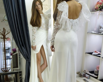Rustic wedding dress, boho style wedding dress / Maidera