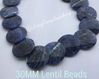 30MM lentil beads in sodalite  rare find!