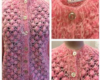 Vintage 1960's light Pink Mohair Cardigan Sweater