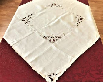 Vintage Luncheon Tablecloth , Imperfect Linen Table Topper Cut Work Embroidery, Small Linen Tablecloth