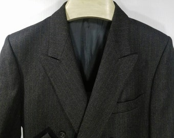 Vintage Double Breasted Suit Jacket, Made in Italy, Charcoal Gray with Red Stripes, Ventless, Fully Lined, Peak Lapels, 37-38, Virgin Wool