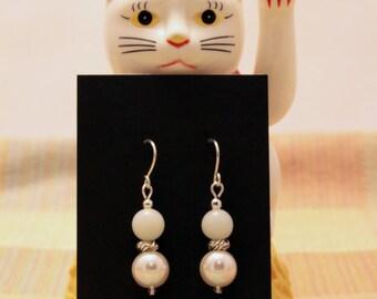 Amazonite & Pearl Earrings w/925 Sterling Silver Earwires