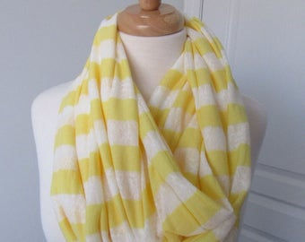 Yellow and White Striped Infinity Scarf