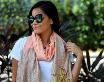 Thai Pashmina Scarf- Peach