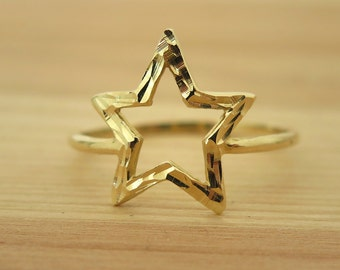 Star Ring - 14K gold star ring - Solid Gold Ring - dainty gold Ring - 14k gold Ring - gift for her  -dainty ring - gold star - 14k gold ring