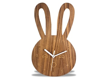 Animal Modern Wooden Cute Bunny Wall Clock