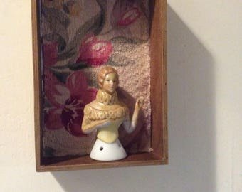 Shadow Box, Gold Oil Rubbed,  Antique Curtain Fabric Lined. Handmade