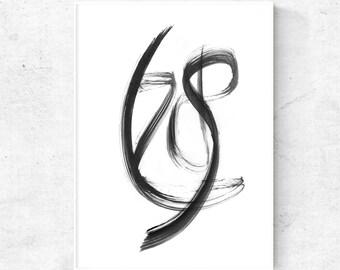 Black white digital print, brush stroke print, black and white abstract art print, 12x12 print, abstract modern art, black abstract painting